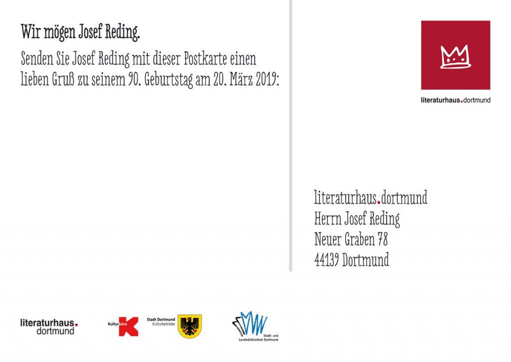 Josef Reding Glückwunsch-Postkarte 90. Geburtstag